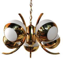 1970s Five-Light Stilnovo Brass Chandelier with Glass Globes