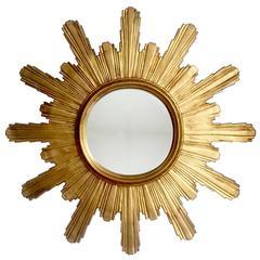 Extra Large Carved Wooden Brutalist Sunburst or Starburst Mirror, 1960s