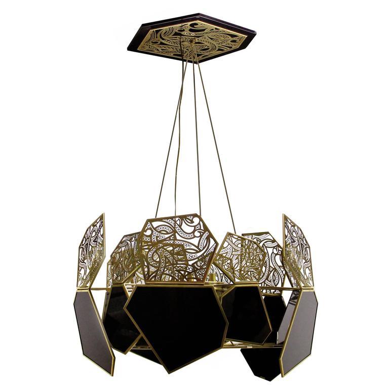 Modern Vintage Pendant Lighting : Hypnotic polished brass and black glass vintage modern