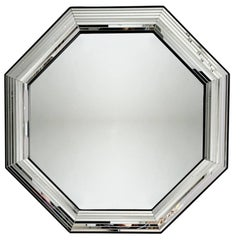 Mid-Century Modern Octagonal Mirror, In style of Jean Claude Mahey, 1970s