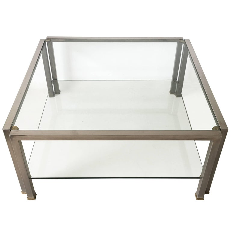 Hollywood Regency Glass Coffee Table T28D by Peter Ghyczy, 1986 For Sale
