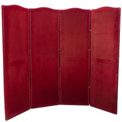 Red Velvet Four-Panel Screen
