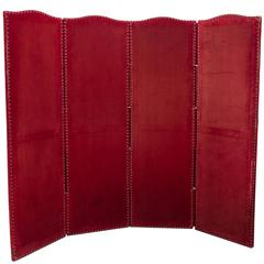 Red Velvet Four-Panel Screen