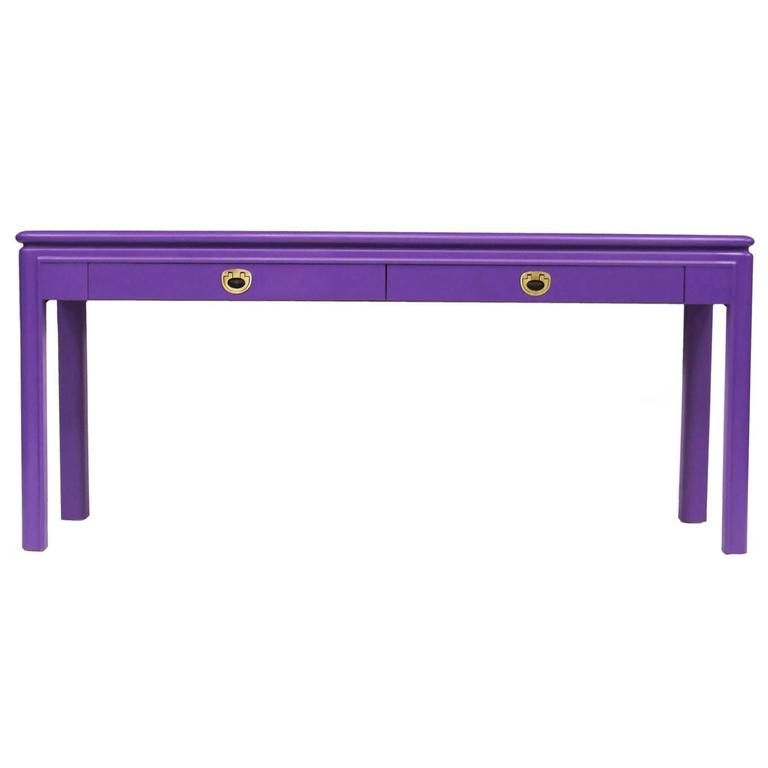 1970s Purple Console Table with Brass Handles