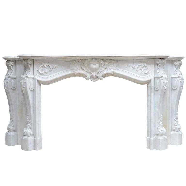 Rare Louis 15 Style White Carrara Marble Fireplace, 19th Century