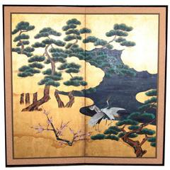 Handpainted Japanese Folding Screen 'Byobu' Cranes by the River, Gold Leaf