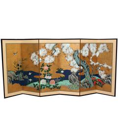 Hand-Painted Japanese Folding Screen Byobu Floral Painting, Watercolor Gold Leaf