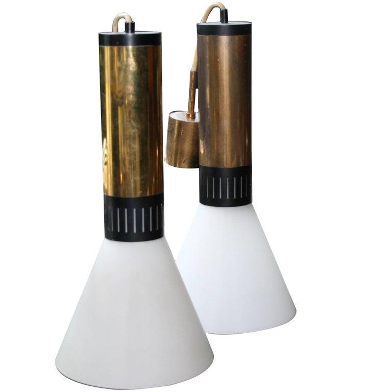 Pair of Stilnovo Brass and Milk Glass Pendant Lights
