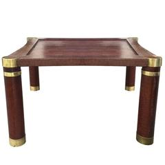 Python and Brass Round Leg Coffee Table Attributed to Karl Springer, circa 1970