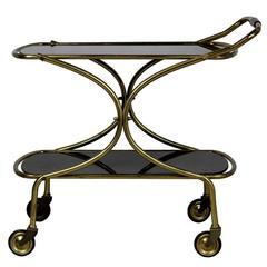 1960s Italian Brass Trolley with Black Glass