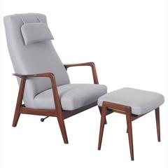Vintage Reclining Lounge Chair and Ottoman by Folke Ohlsson for Dux