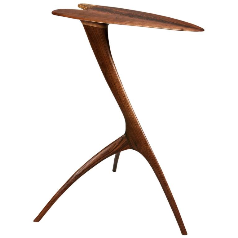 """Handcrafted Wood """"Heron"""" End or Side Table by Brian Fireman"""