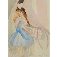 Marie Laurencin Watercolor, Girls with Hoop