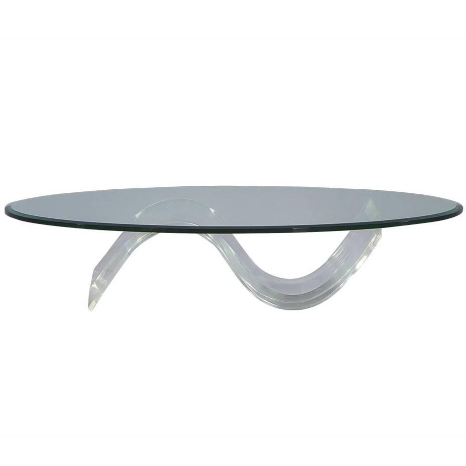 Oval Mid-Century Modern Glass Lucite Cocktail Table At 1stdibs