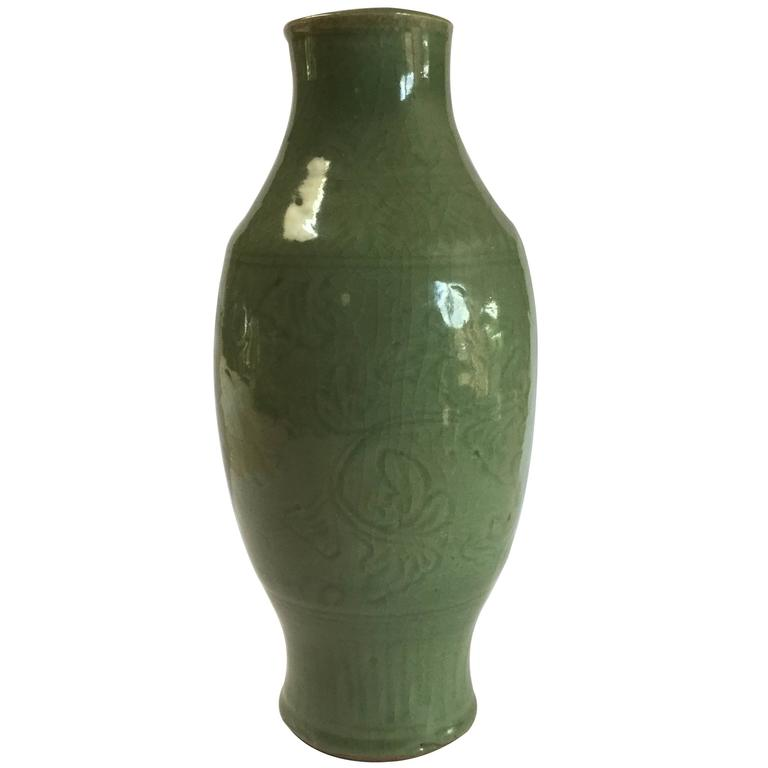 14th Century Celadon Vase From Zhejiang Province For Sale At 1stdibs