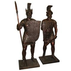 Magnificent Pair of Huge Bronze Roman Soldier Statues