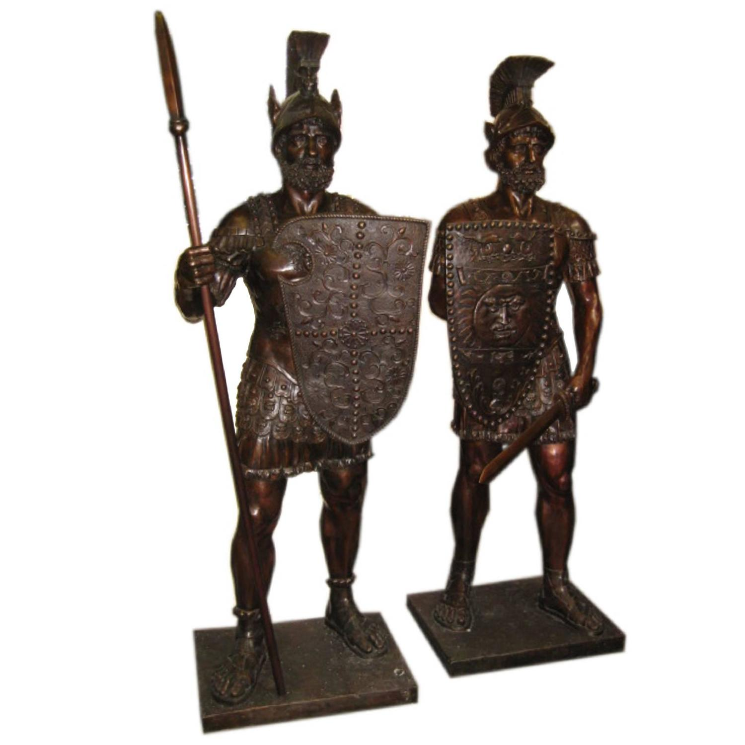Magnificent Pair Of Huge Bronze Roman Soldier Statues For