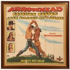 Movie Poster of Arrowhead Staring Charlton Heston, circa 1953