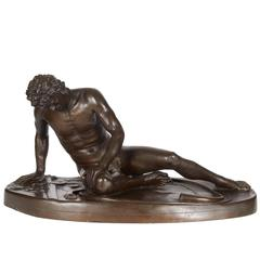 """French Bronze Sculpture """"The Dying Gaul"""" after the Antique Signed F. Barbedienne"""