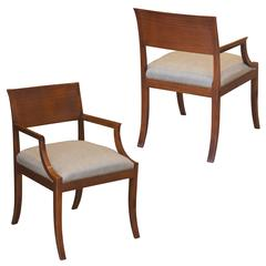 Pair of Art Deco Klismos Armchairs in Mahogany by Rud. Rasmussen