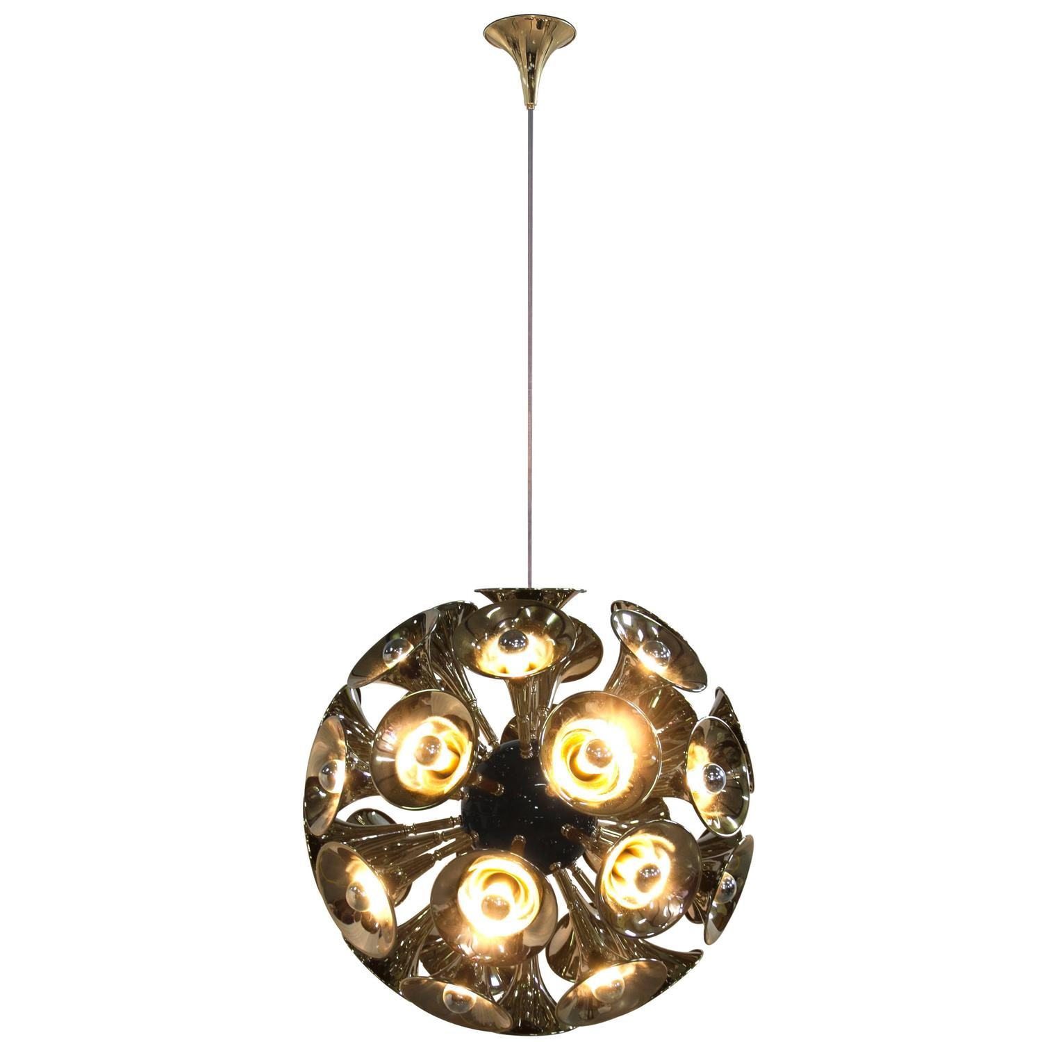 European Art Deco Botti Gold and Brass Spherical Chandelier by