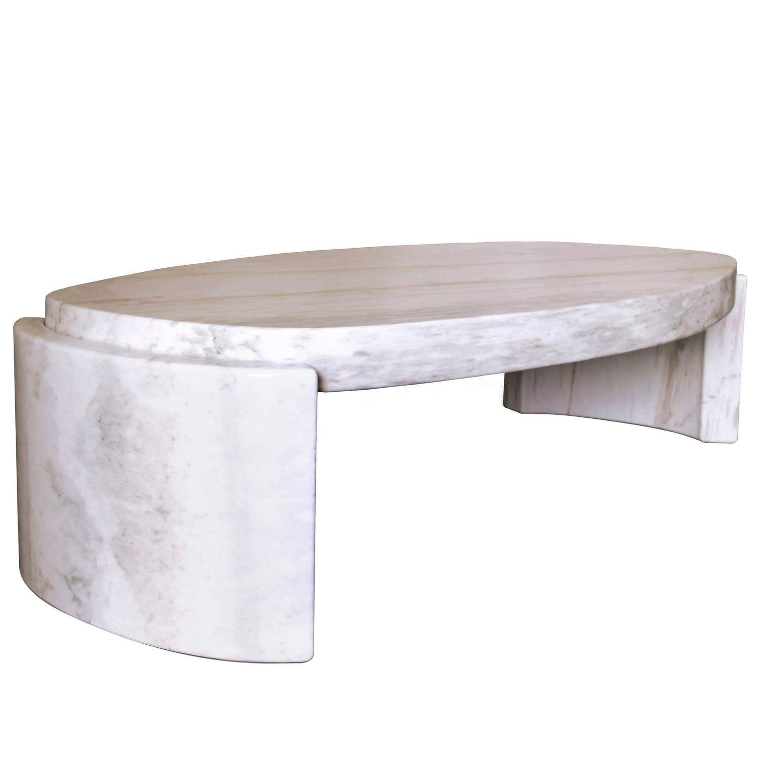 Large European Modern White Marble Tacca Oval Centre Coffee Table By