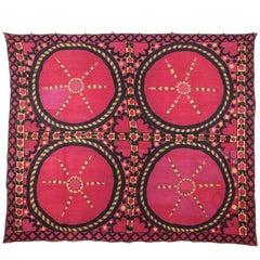 Late 19th Century Tashkent, Uzbekistan Overall Embroidered Silk Suzani