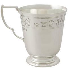 Sterling Silver 'Noah's Ark' Christening Mug, Art Deco Style, Antique George V