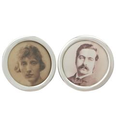 Pair of Sterling Silver Photograph Frames, Antique Edwardian