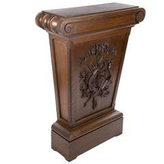Carved Wood Pedestal Stand