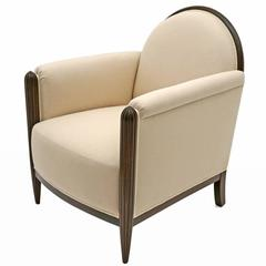 French Art Deco Upholstered Club Chair with Reeded Front Legs, circa 1930