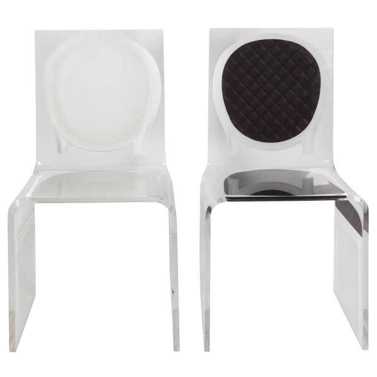 White and Black Lucite Side Chairs