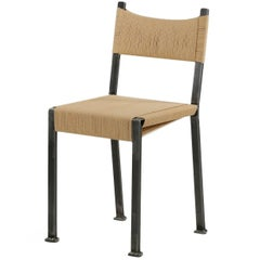 Finely Handcrafted Tumbled Steel Fiber Cord Industrial Side Chair, 21st Century