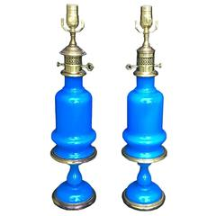 19th Century Pair of French Opaline Lamps