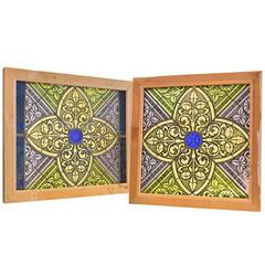 Late 19th Century Flash Glass Windows Gothic Details and Colbalt Blue Center