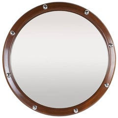 Exceptional Nautical Teak and Chrome Ship's Porthole Style Mirror