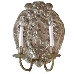 Large-Scale Silver Plated Figural Sconce with Amazing Details
