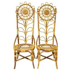 Pair of Rattan High Back Shape Chairs with Flower Pattern
