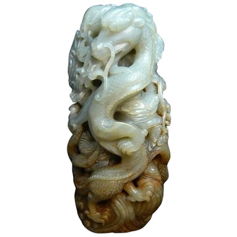 Chinese Carved Celadon Nephrite Jade Dragon Group Early