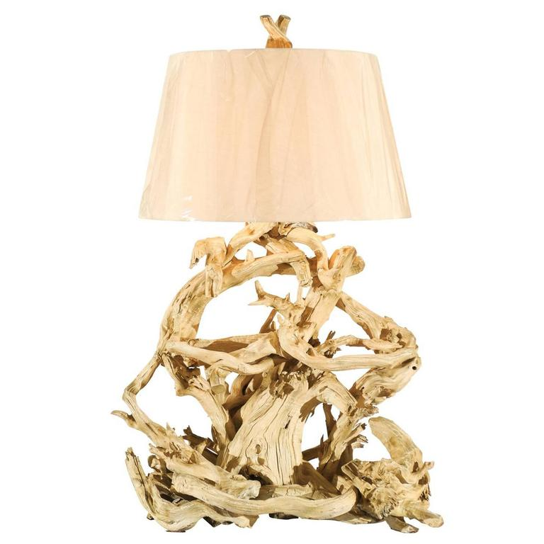 Majestic Restored Vintage Driftwood Lamp In Gesso For Sale