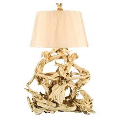 Majestic Restored Vintage Driftwood Lamp in Gesso