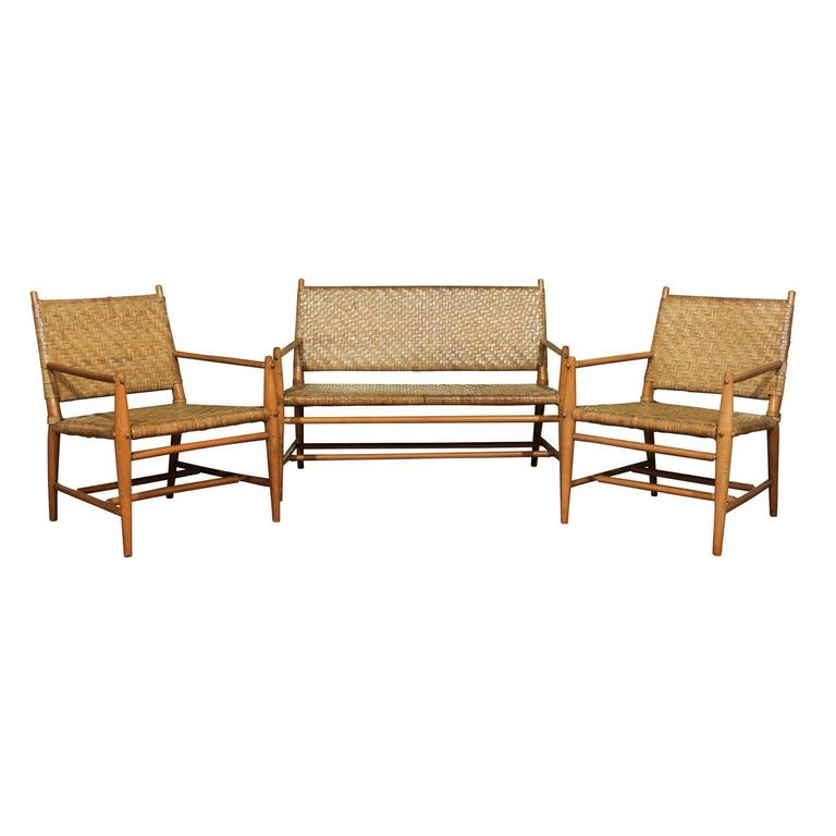 Exceptionally Rare Complete Three-Piece Modern Seating Set by Old Hickory