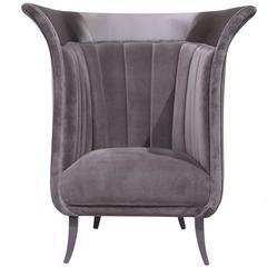 European French Vintage Modern Velvet and Satin Tulip Lounge Chair by Koket