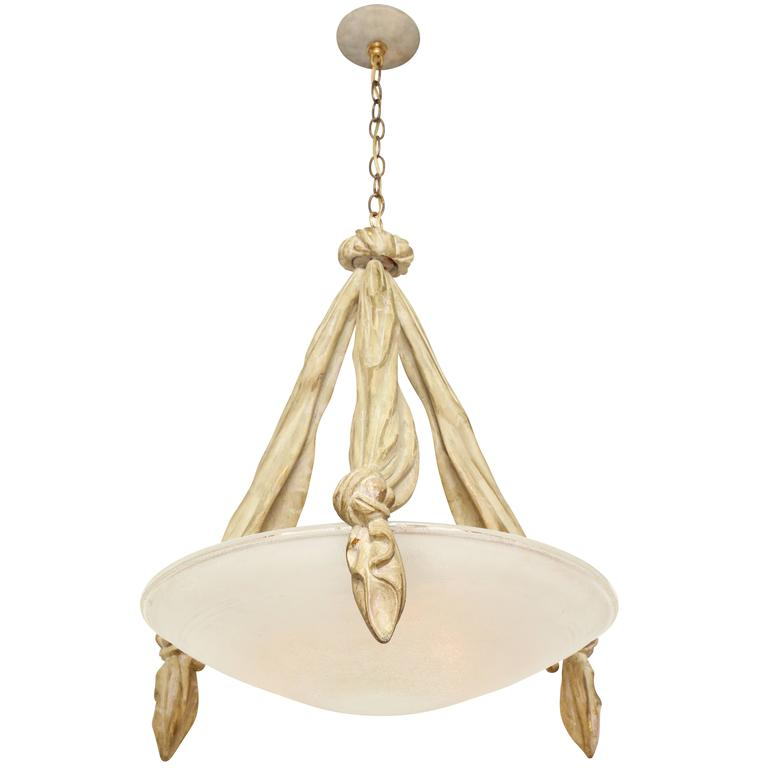 Italian Pendant Fixture with Trompe l'oeil Carved Wood For Sale