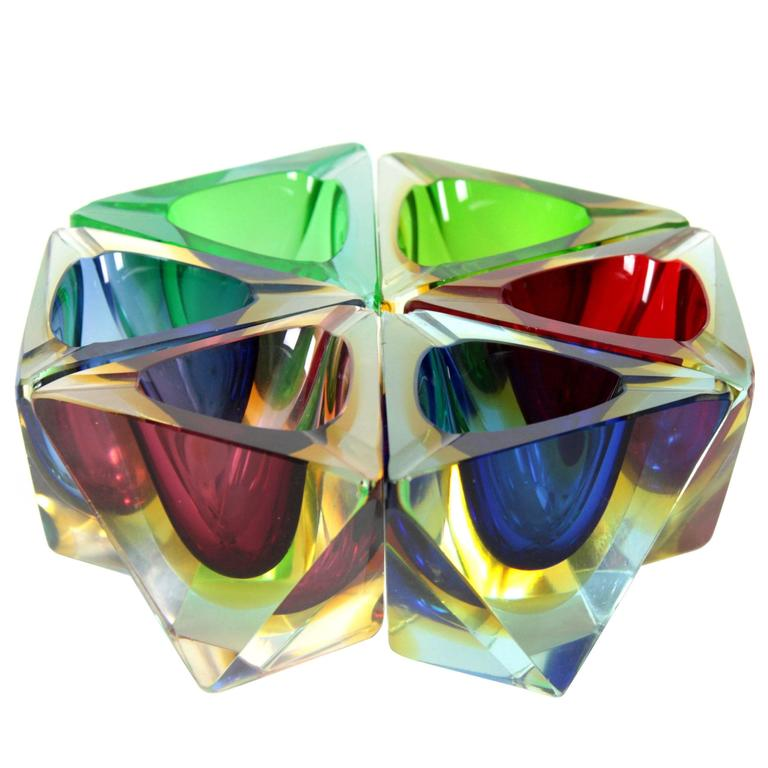 Six Flavio Poli Colorful Faceted Triangular Sommerso Murano Glass Ashtrays For Sale