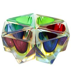 Unusual Set of Six Flavio Poli Faceted Sommerso Colorful Murano Glass Ashtrays