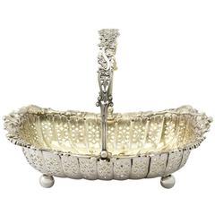 1897 Antique Victorian Sterling Silver Basket