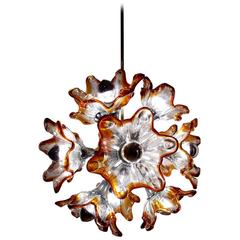 Beautiful Twelve-Arm Murano Glass Flower Sputnik Pendant Chandelier by Mazzega