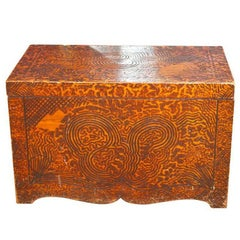 Unique Folk Art Pyrography Chest