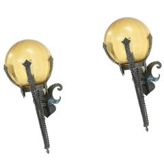 Pair of Large Gothic Outdoor Wall Lamps in Iron, 1950s